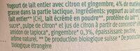 Yaourt Citron Gingembre - Ingrediënten