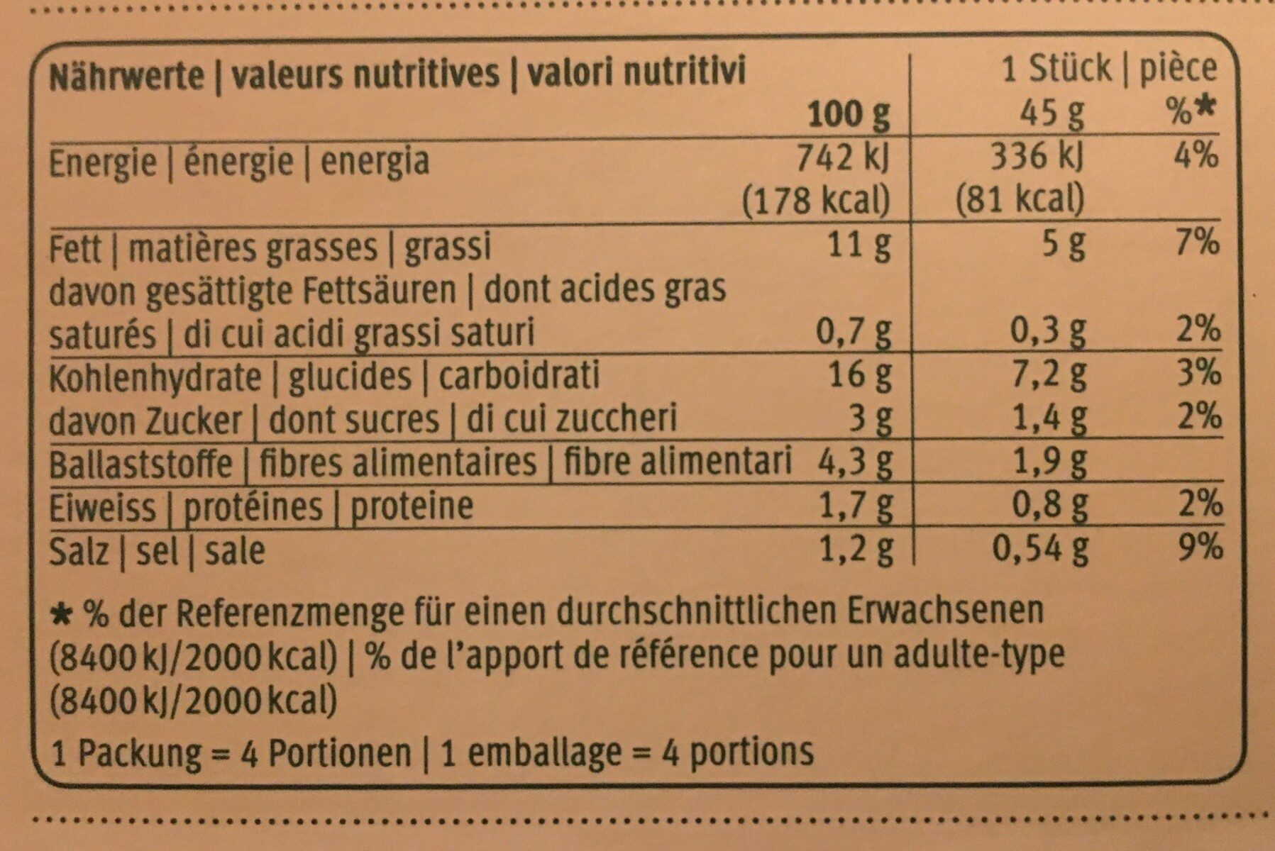 Triangles choucrute panais - Nutrition facts - fr
