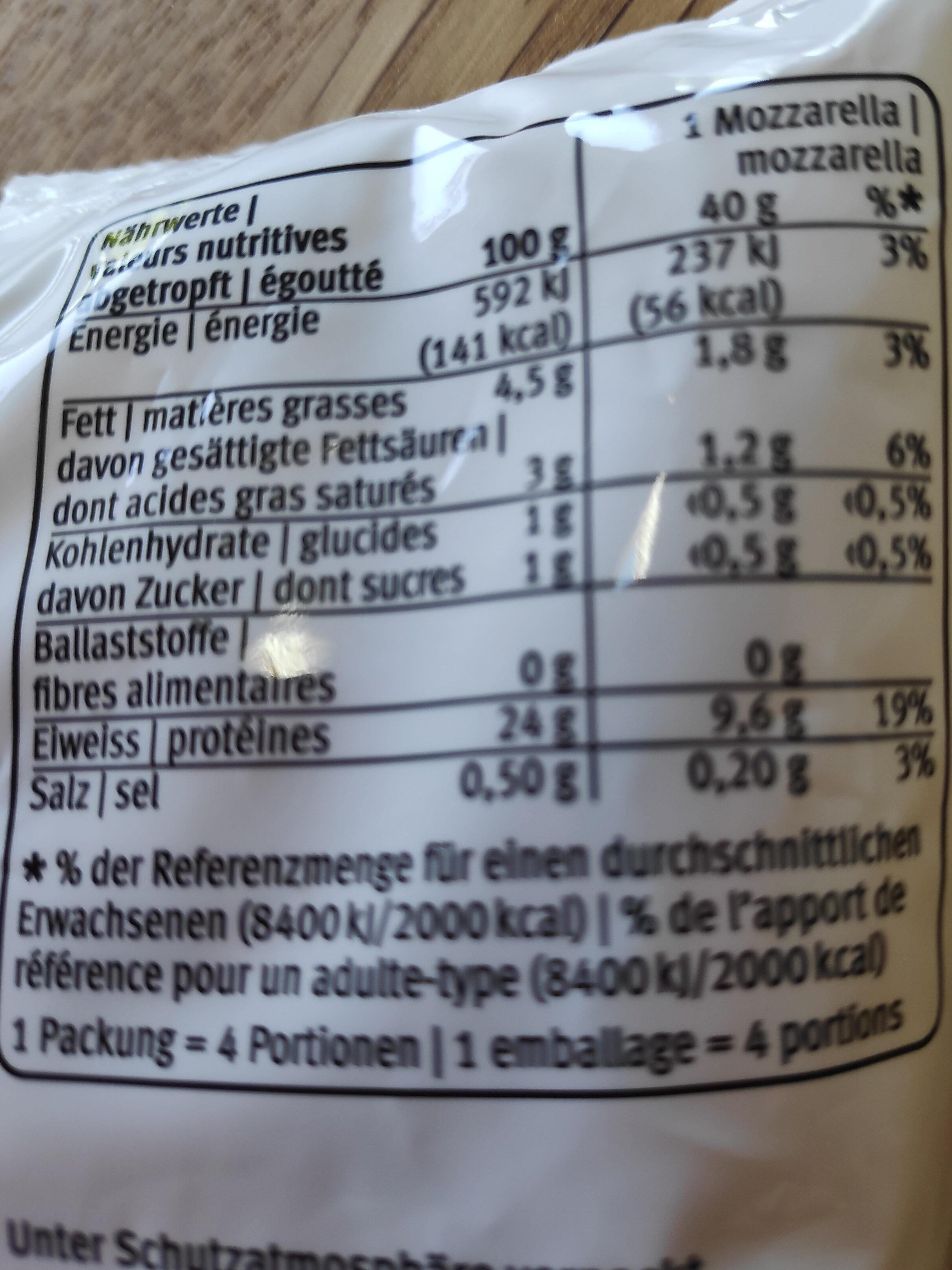 Mozzarella YOU - Voedingswaarden - fr