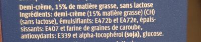 Demi creme M-classic - Ingrediënten - fr