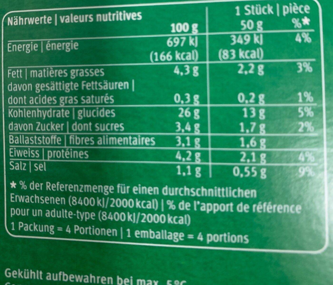 Topinambur Medaillon - Nutrition facts