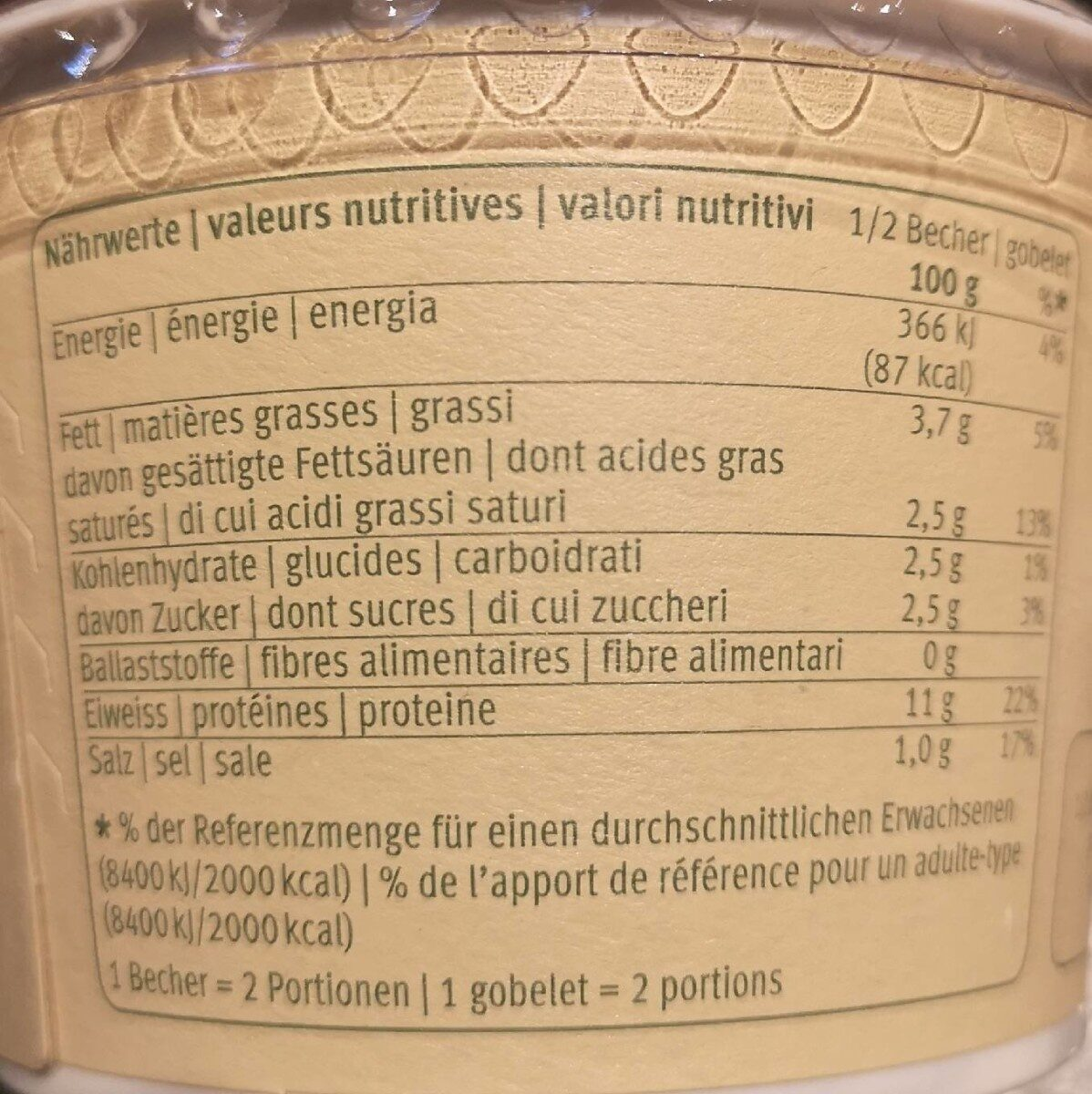 Cottage Cheese - Informations nutritionnelles - fr