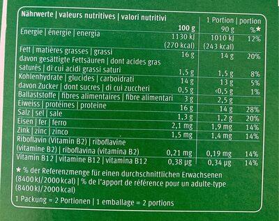 Crispy burger - Nutrition facts - fr