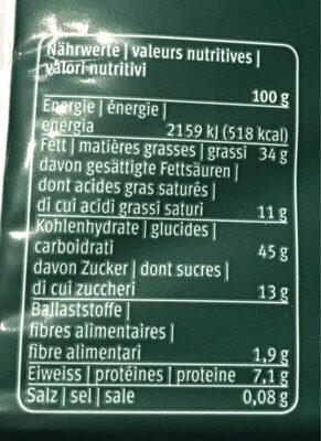 Pâte pour croissants à la vanille - Voedingswaarden - fr