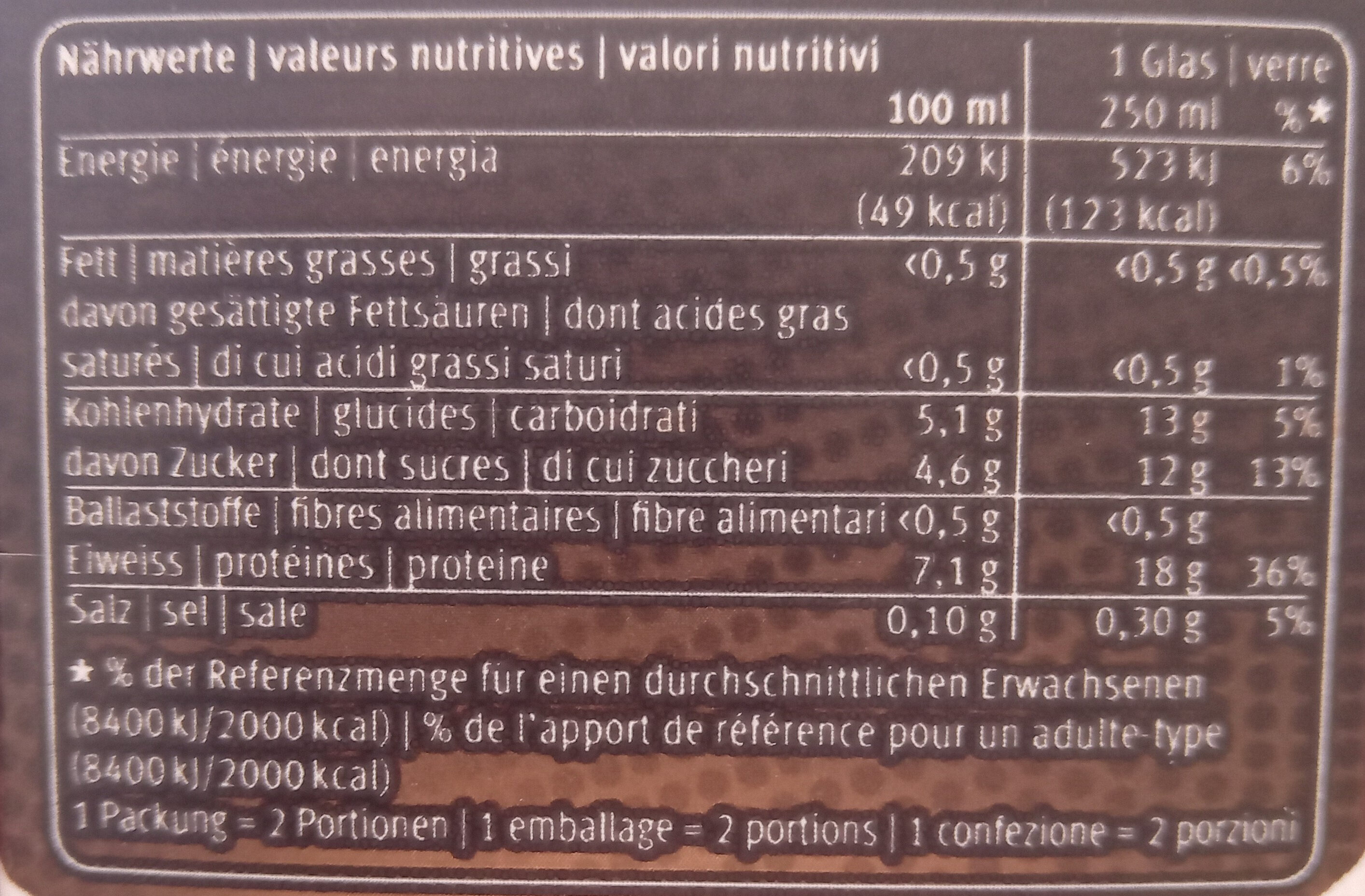 High Protein Drink Mokka - Nutrition facts