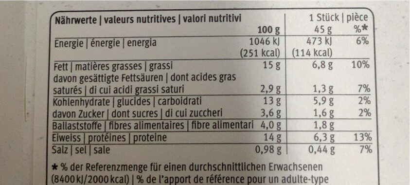 Vegetable triangle - Nutrition facts - fr
