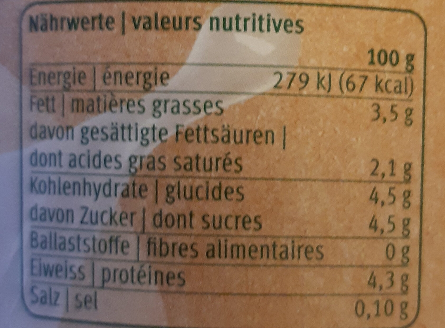 Nature Joghurt - Nutrition facts - fr