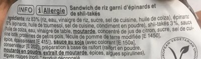 Spinach shiitake onigiri - Ingredients - fr