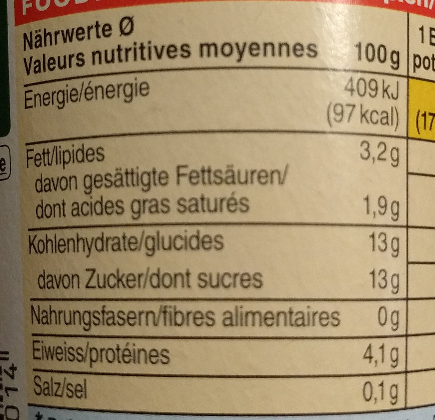 Jogurt Pruneau-Miel - Nutrition facts