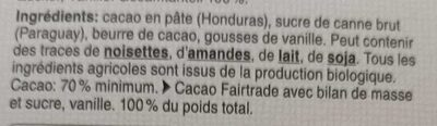 70 % Honduras Chocolat Noir 70% de Cacao Trinitario - Ingredienti - fr