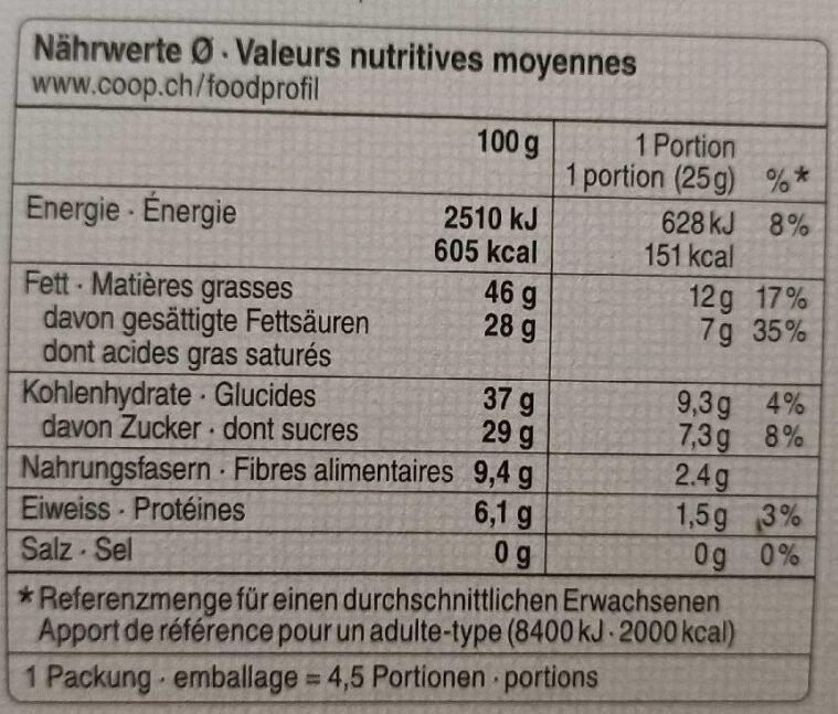 70 % Honduras Chocolat Noir 70% de Cacao Trinitario - Valori nutrizionali - fr