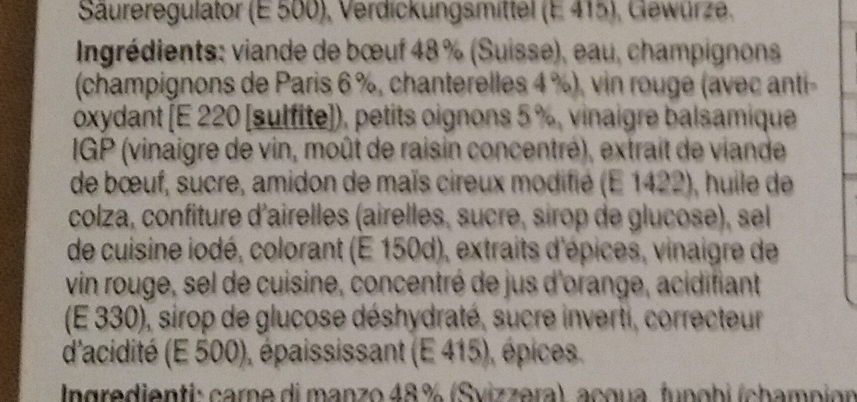 Bœuf Bourguignon - Ingredients