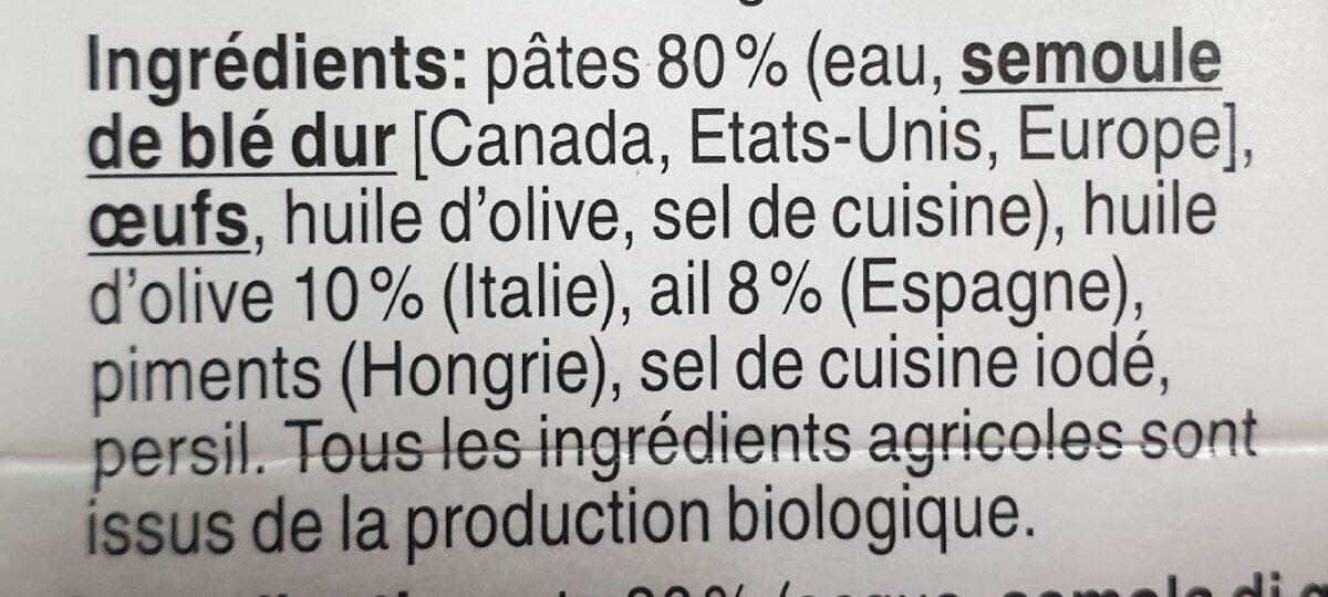 Spaghetti aglio, olio e peperoncino (ail, huile et piments) - Ingrédients - fr
