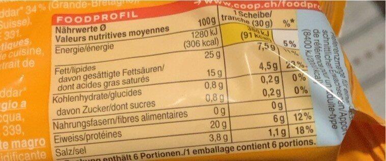 Cheddar en tranche - Informations nutritionnelles - fr