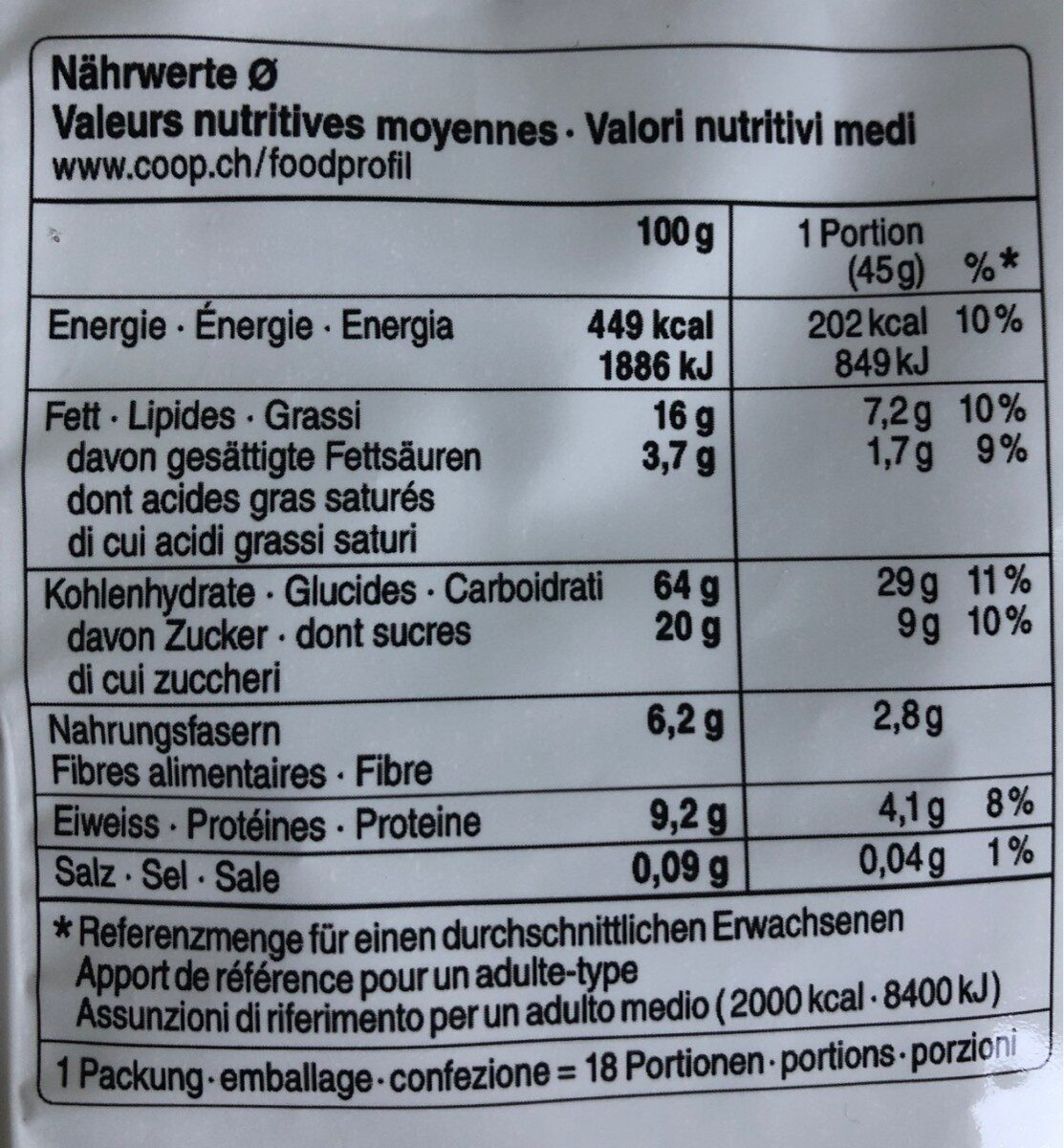 Muesli croquant au chocolat - Informazioni nutrizionali - fr