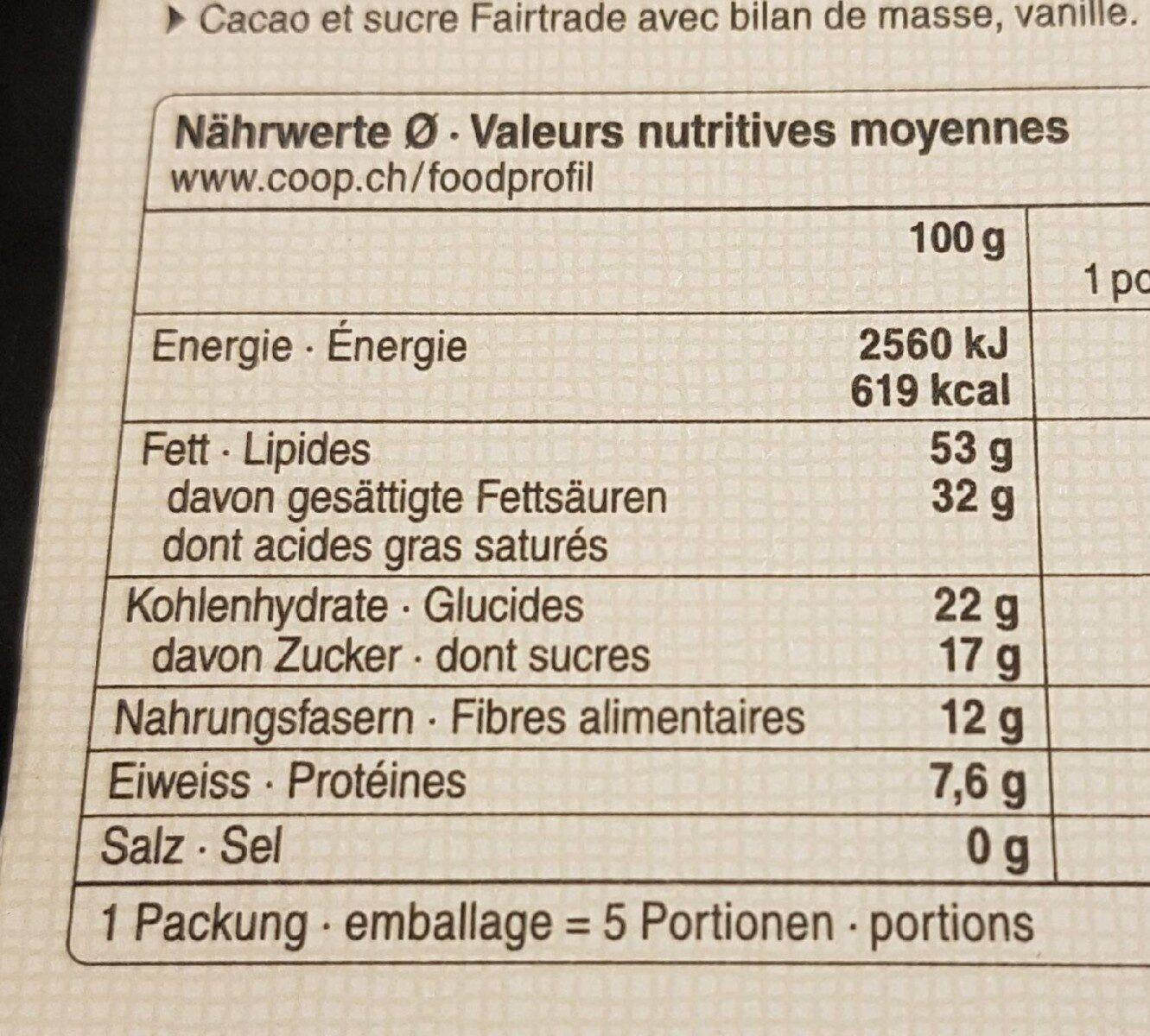 Chocolat noir 82% madagascar - Voedingswaarden - fr