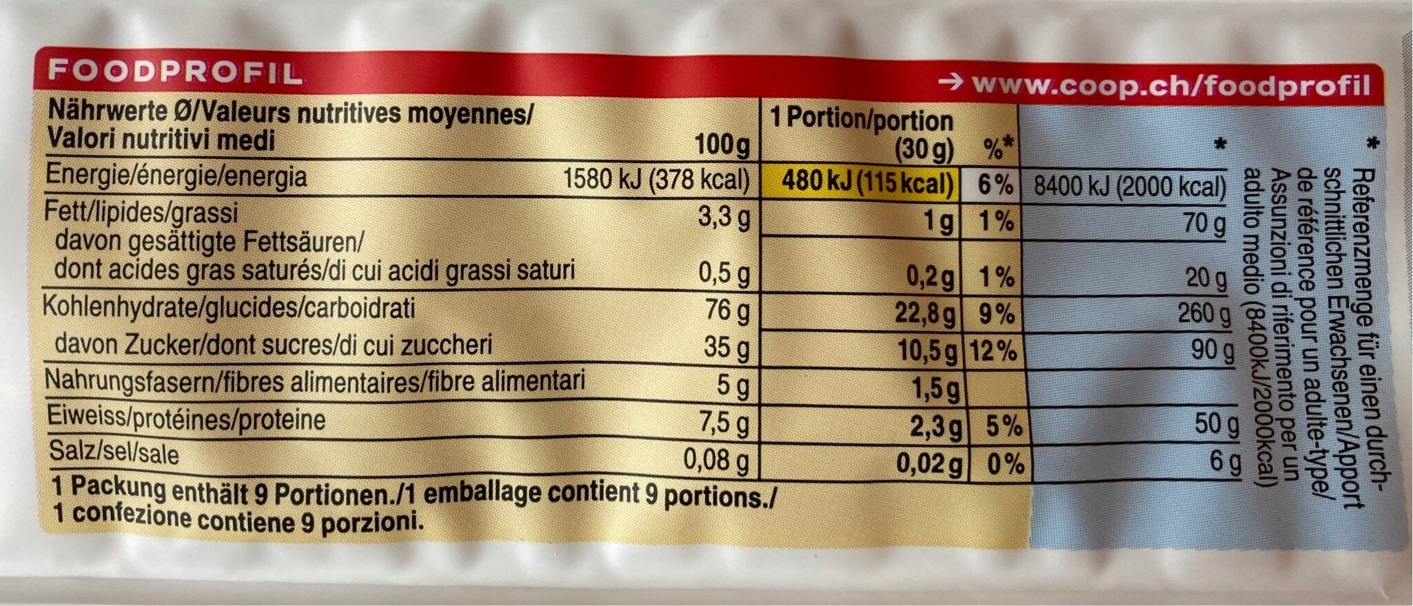 Flocons d'épeautre grillés - Nutrition facts - fr