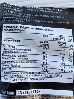 Chips de légumes - Valori nutrizionali - fr