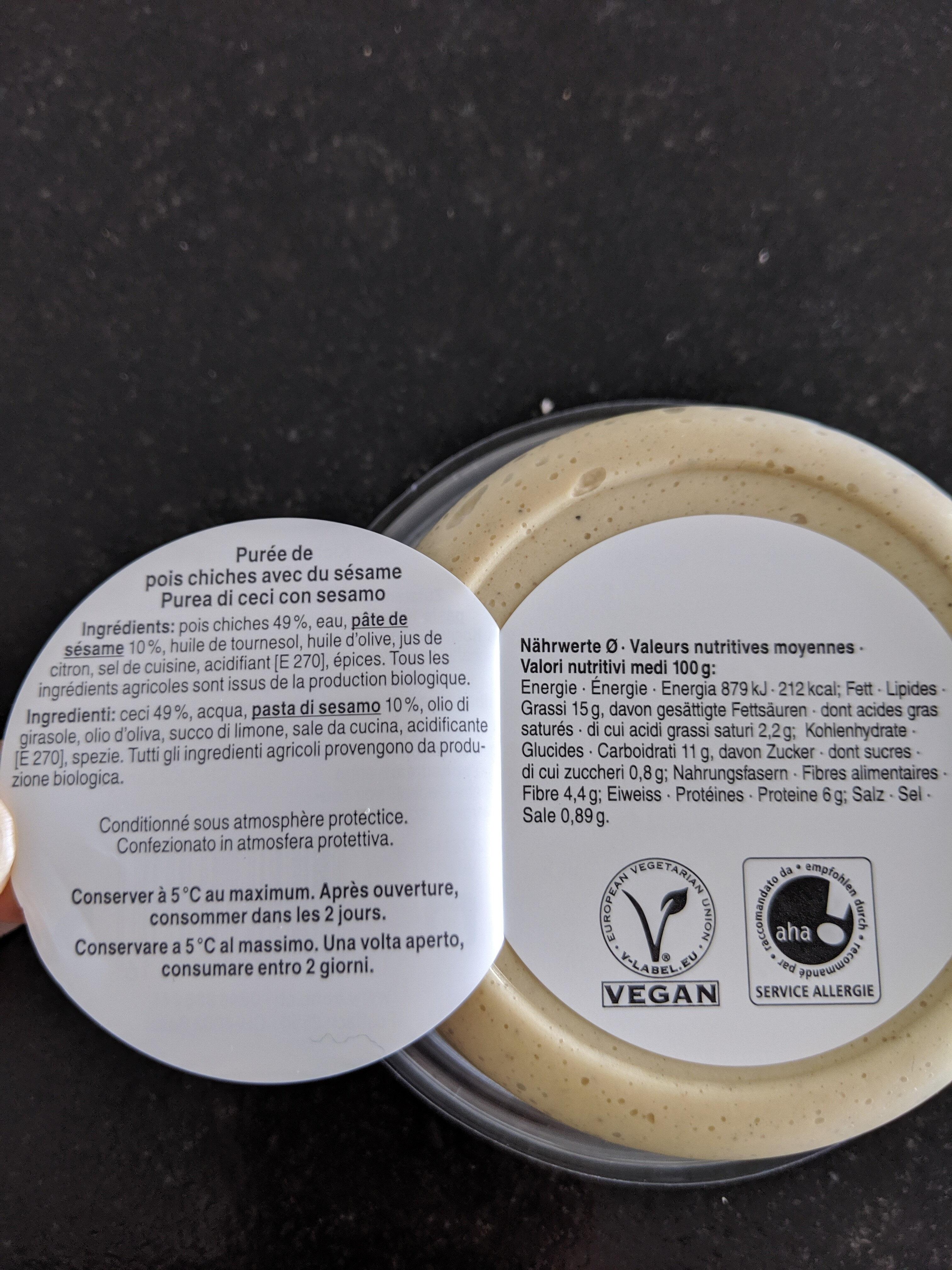 Bio hummus nature - Ingredients - fr