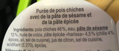 Hummus Harissa - Ingredients - fr