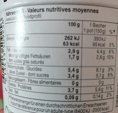 Jogurt Fraise-vanille - Nutrition facts