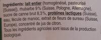 Jogurt Rhubarbe-Fleur de sureau - Ingredients - fr