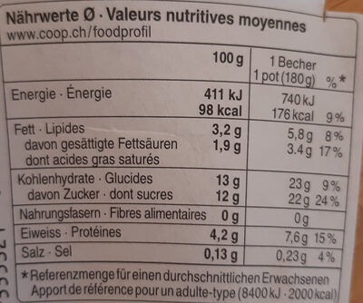 Jogurt Rhubarbe-Fleur de sureau - Nutrition facts - fr
