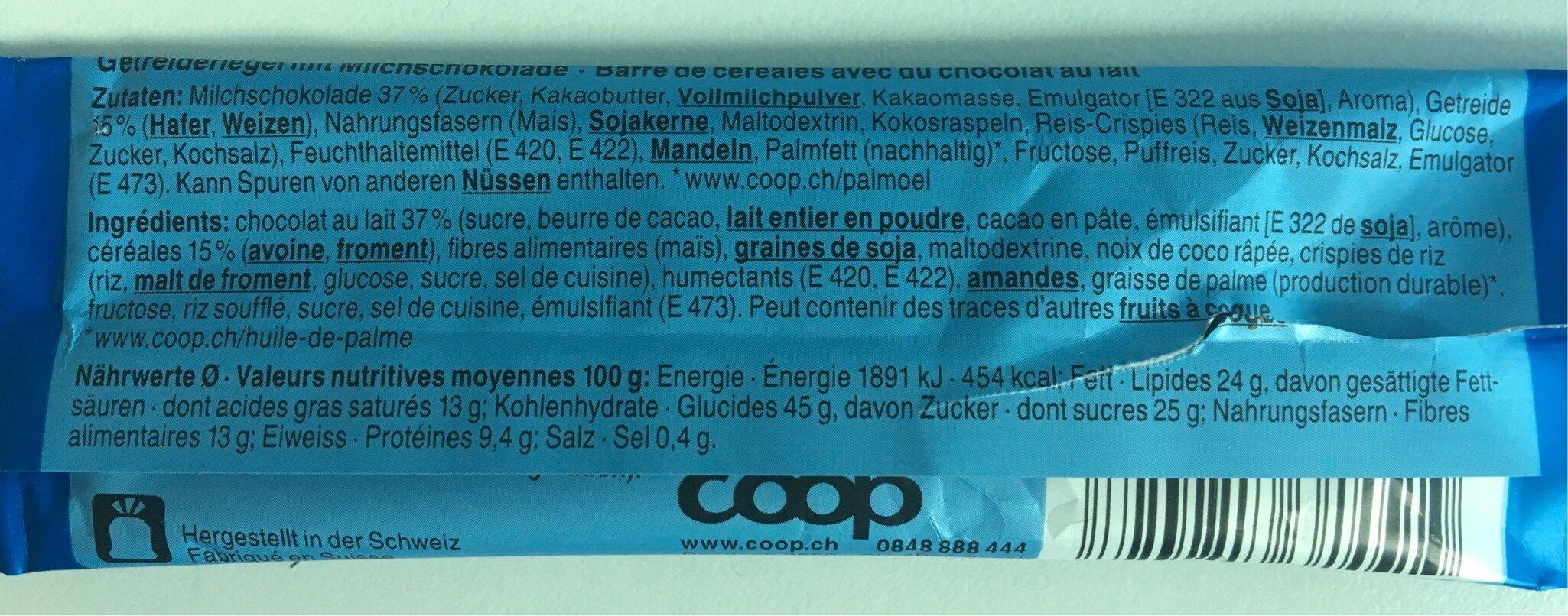Country Soft Snack - Milk Chocolate Bar - Ingrediënten - fr