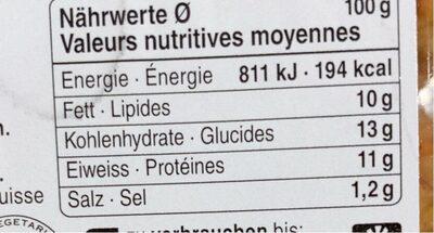 Bouelttes aux légumes - Valori nutrizionali - fr
