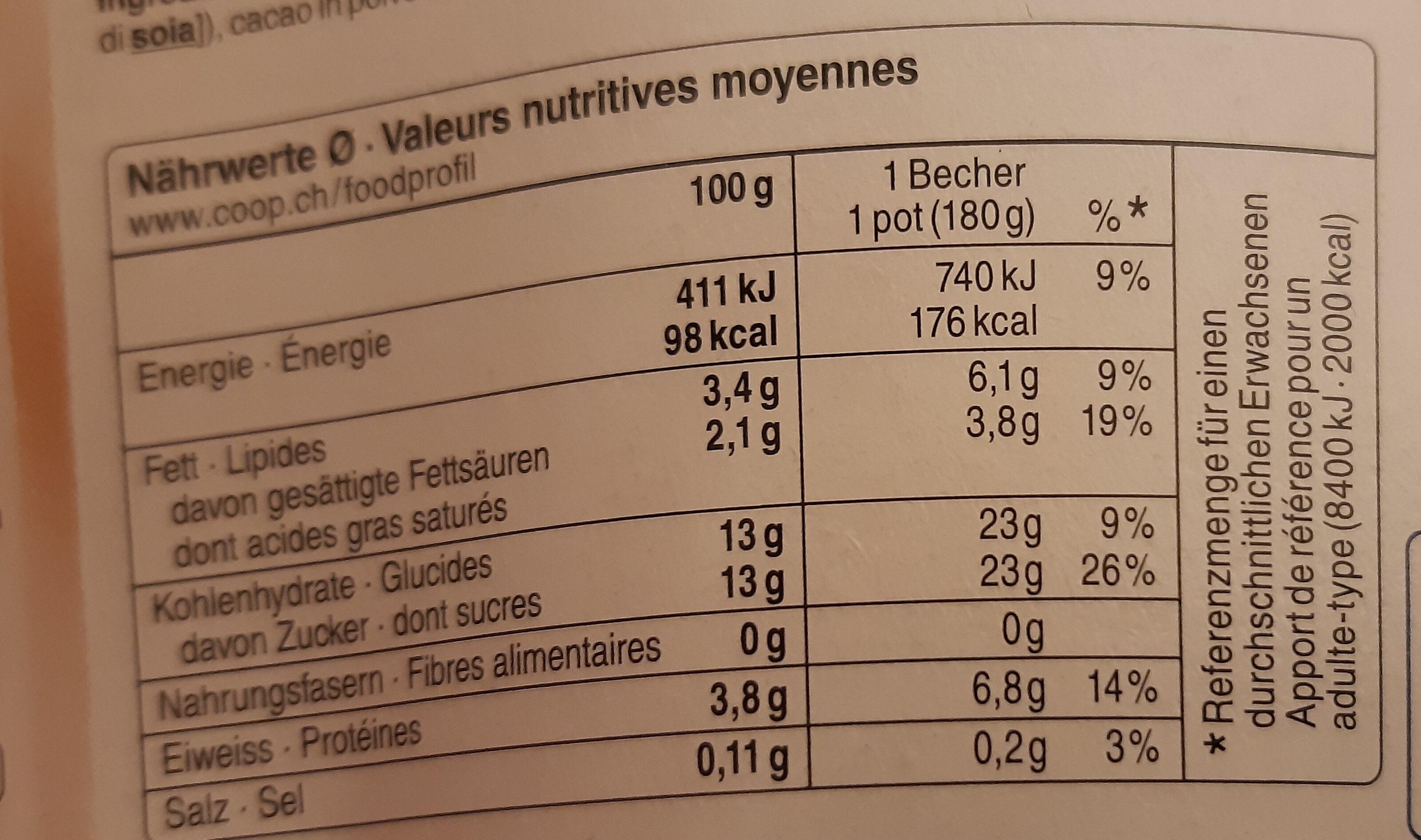 Jogurt chocolat - Nutrition facts - fr