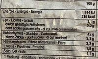 pain aux marrons - Nutrition facts - fr