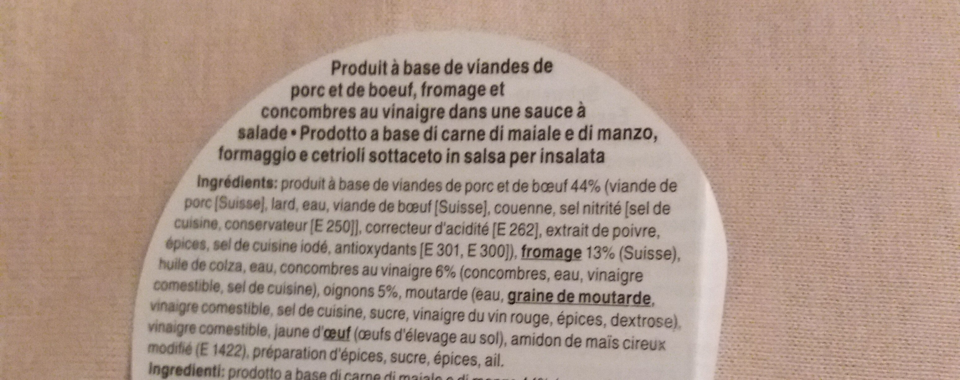 salade saucisse fromage - Ingrédients
