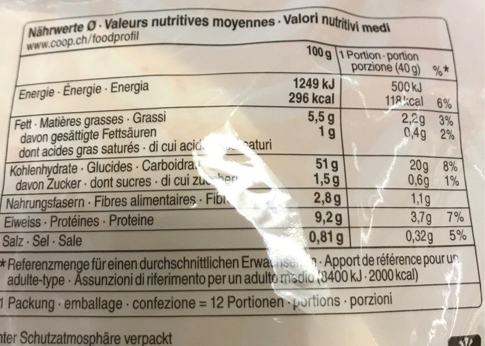 Tortillas - Valori nutrizionali - fr