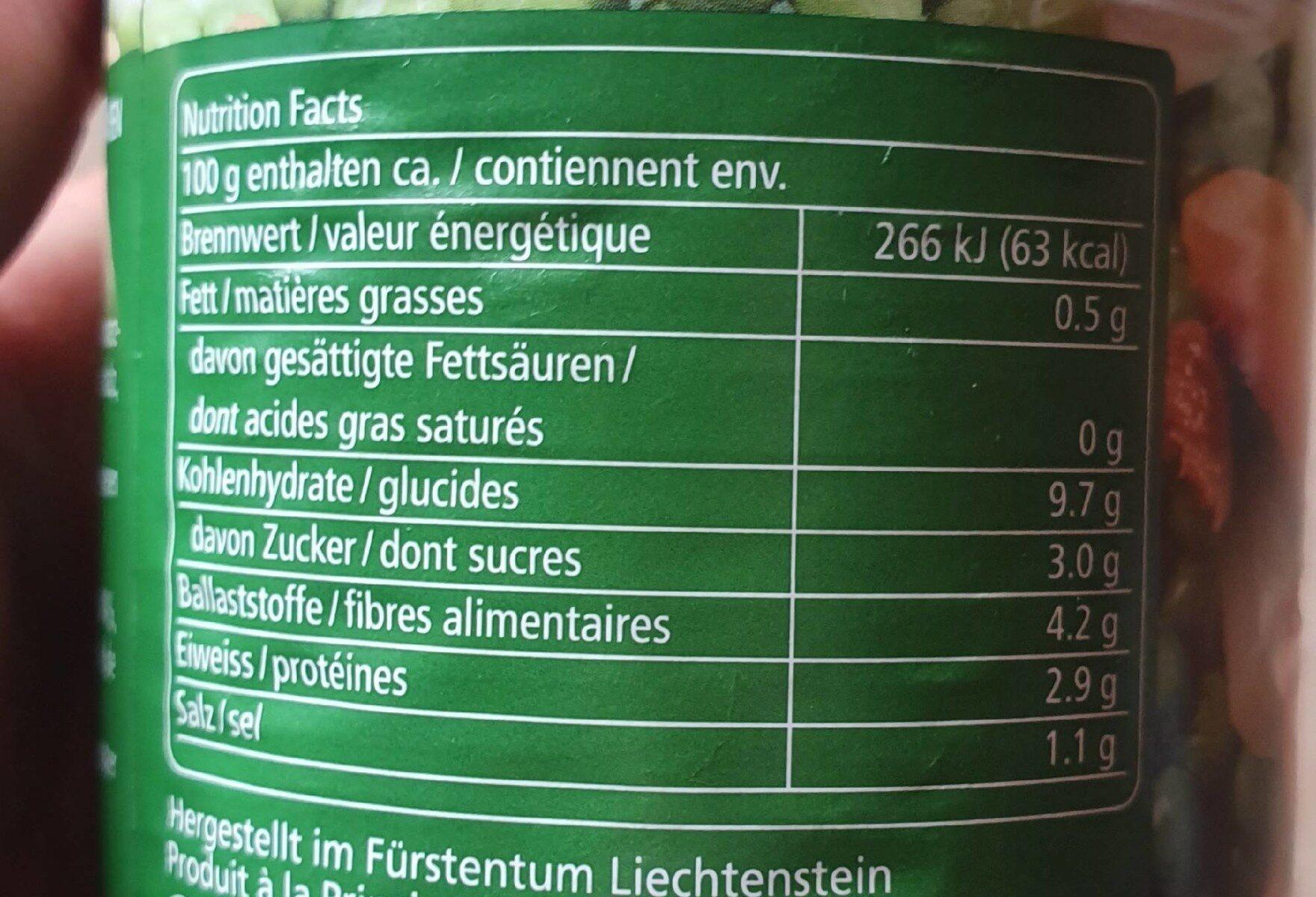 Choix de legumes avec chauterelles - Valori nutrizionali - fr