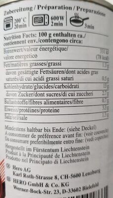 Ravioli à la sauce tomate - Voedigswaarden
