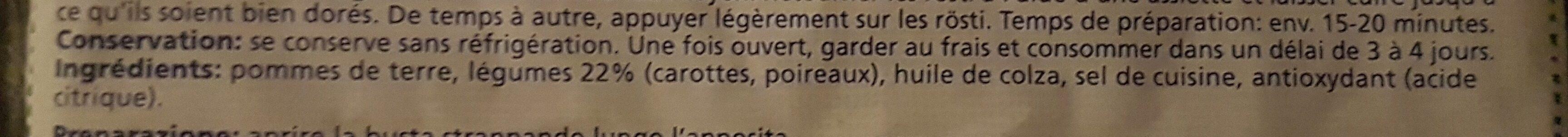 Gemüse Rösti - Ingrédients - fr