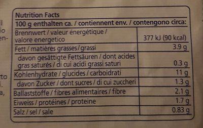 Gemüse Rösti - Informations nutritionnelles - fr