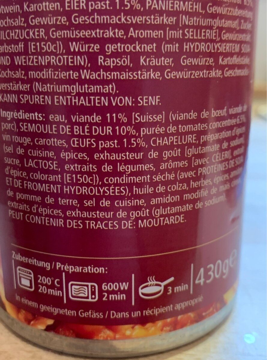 Ravioli Bolognese - Ingrediënten - fr