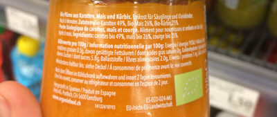 Organix just carrot, corn & buttternut squash - Ingredients - fr