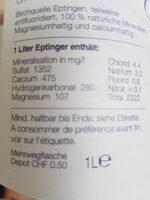 Natürliches Mineralwasser ohne Kohlensäure - Ingredienti - de