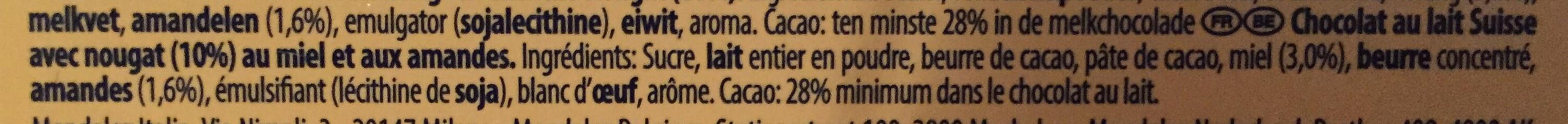 Milk Chocolate Bar - Ingrédients
