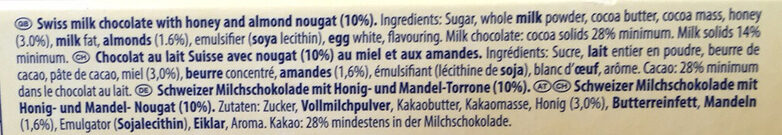 Toblerone - Ingrediënten