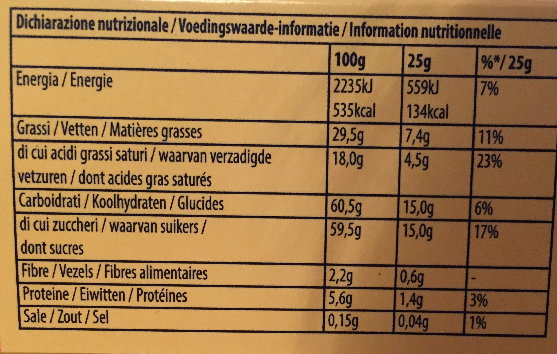 Milk Chocolate Bar - Informations nutritionnelles