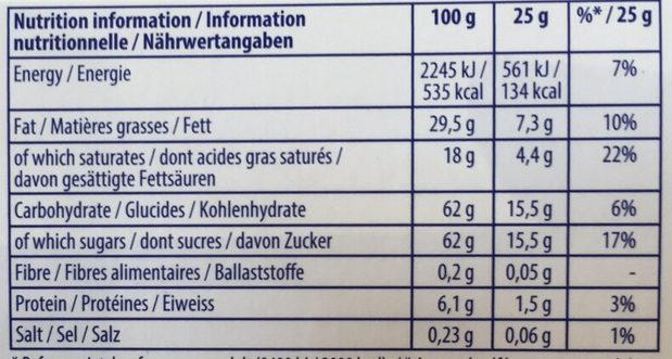 TOBLERONE - Informations nutritionnelles - fr