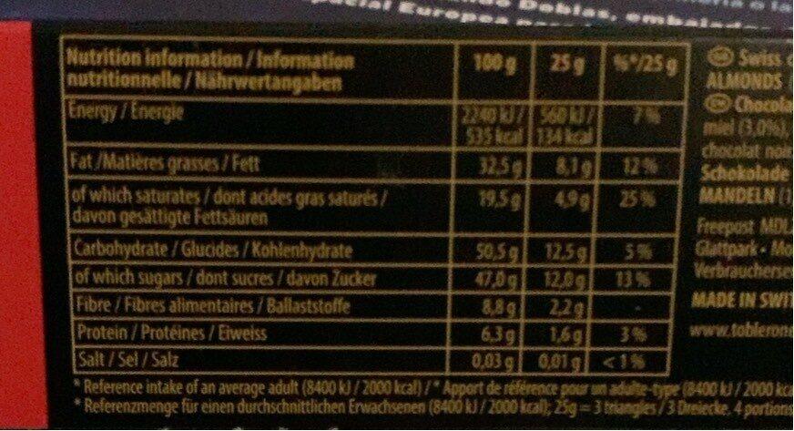 Dark Chocolate Bar - Nutrition facts - en