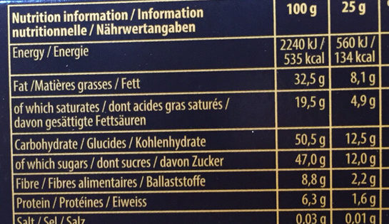 Toblerone Noir - Nutrition facts