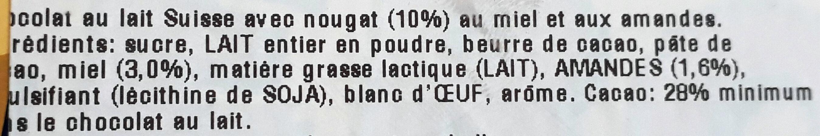 Chocolat au lait Suisse avec nougat (10%) au miel et aux amandes - Ingredienti - fr