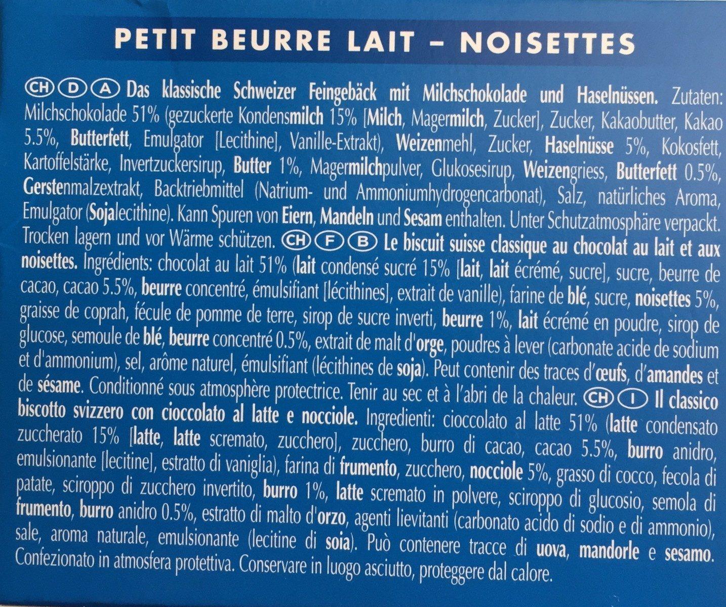 Petit Beurre Lait-Noisette - Ingrédients - fr