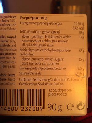 Kambly Biscuits With Caramel Almond Hazelnut - Ingrediënten