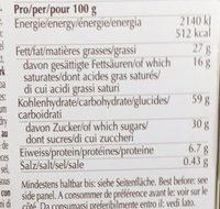 Sablés au chocolat au beurre frais de la vallée de l'Emmental - Voedingswaarden - fr
